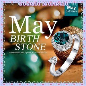 🆕💚Rotating MAY Birthstone Ring💚SIZE ADJUSTS✨